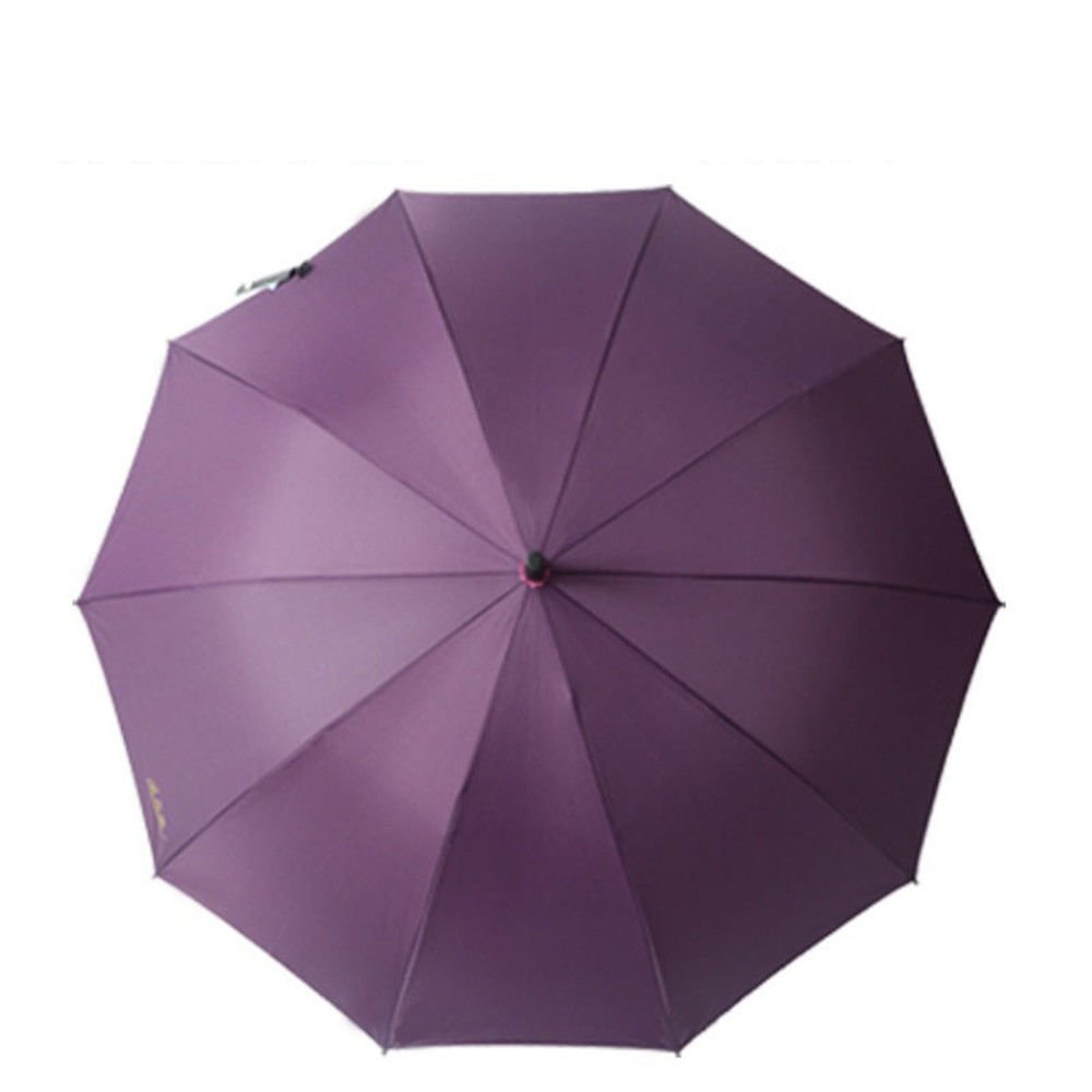Guoke Straight Shank Long Handle, Two Men And Women Fine Rain Umbrella With Automatic Double Umbrella, 10, Purple