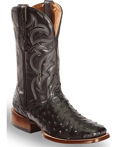El Dorado Mens Men'S Full Quill Ostrich Stockman Boot Square Toe Black 9 D