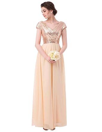 942d2e067960 Bridesmaid Dress Sequins Chiffon Cap Sleeve Long Wedding Evening Party Gowns  Rose Gold US 2