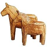KiaoTime Set of 2 Vintage Decorative Unfinished Wooden Horse Statue Horse Figurine