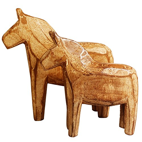 - KiaoTime Set of 2 Neutral Painting Dala Horse - Swedish Dala Horse Statue - Vintage Unfinished Wooden Horse Figurine Statue Horse(CAN Painting by Yourself) (Dala Horse)
