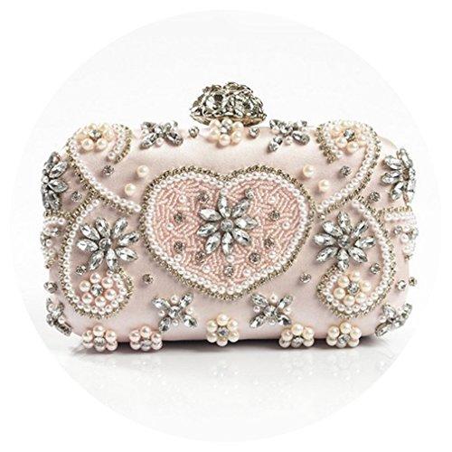 EKDJFG Crystal Evening Bag Handmade Style Rhinestones Pearl Women Evening Bags Vintage Satin Lady Party Wedding Clutches Pink
