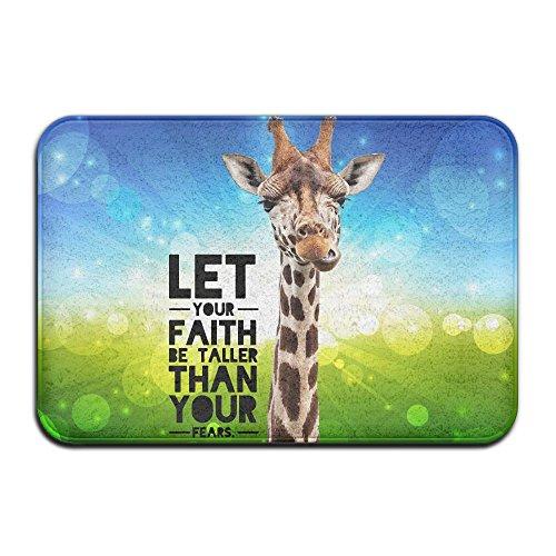 EWD8EQ Giraffe Faith Taller Non-slip Indoor/Outdoor Floor Mat For Health And Wellness Offices Bathroom Doormat 23.6''x 15.7'' by EWD8EQ