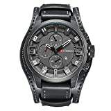 Retro Luxury Wide Bracelet Cuff Watch Calendar Decorative Three Small Dial Leather Strap Men Wrist Watch