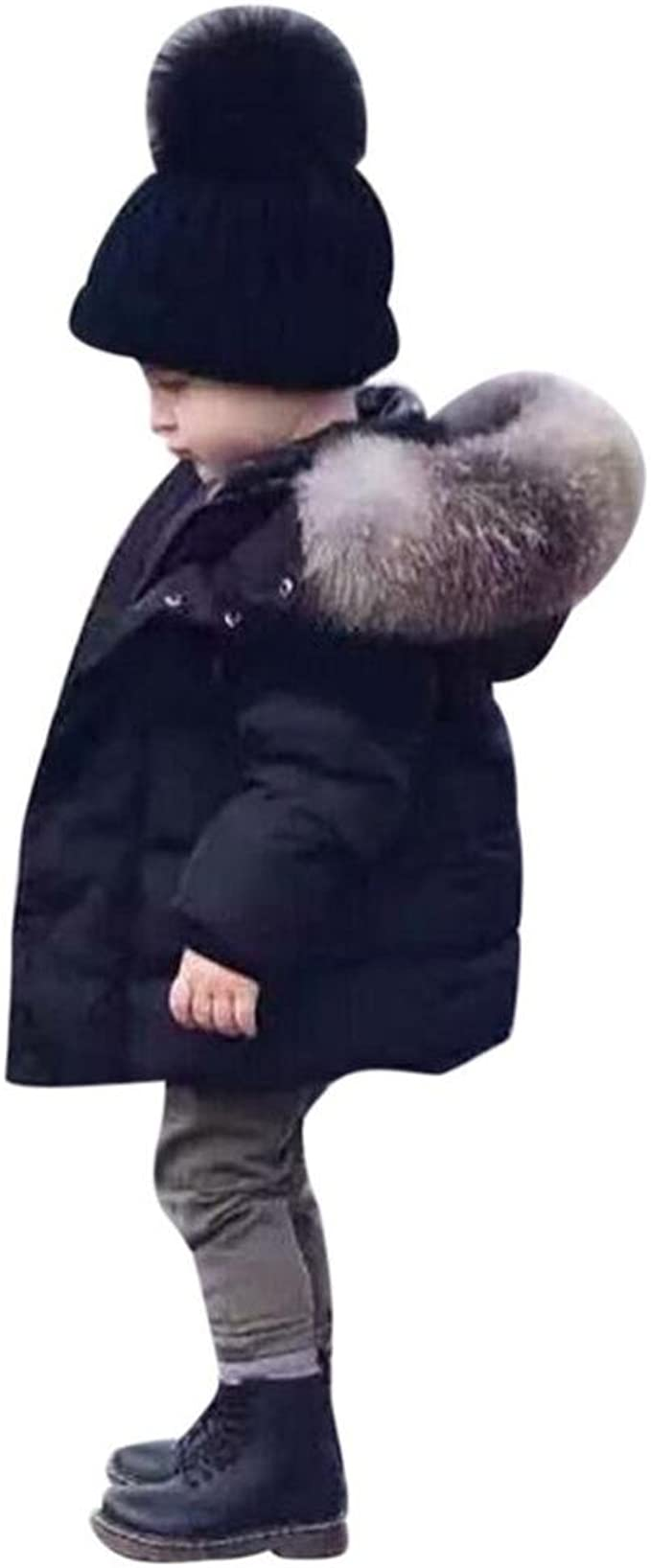 Longra Baby Kinder M/ädchen Junge Daunenmantel Daunenjacken mit Fellkapuze Kinder Winterjacke Kapuzenmantel Kapuzenjacke Trenchcoat Warm Kinder Winterm/äntel Kleidung 0-5Jahre