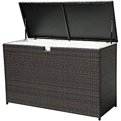 PATIOROMA Outdoor Storage Box Patio Aluminum Frame Wicker Cushion Storage Bin Deck Box, Espresso Brown