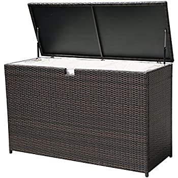 Merveilleux PATIOROMA Outdoor Storage Box Patio Aluminum Frame Wicker Cushion Storage  Bin Deck Box, Espresso Brown
