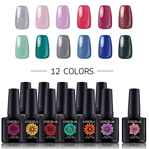 Coscelia Gel Nail Polish 12 Colors 10ml Soak Off Nail Art Manicure Varnish Set, Require LED UV Nail Dryer Lamp