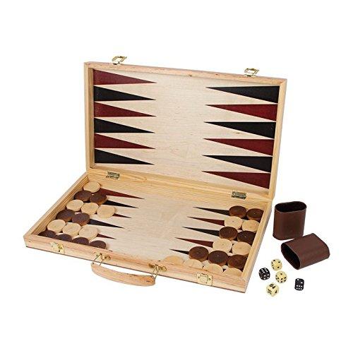 Small Foot by Legler Schach und Backgammon Koffer aus hochwertig gearbeitetem Holz, aufklappbare Holzkassette dient als Spielfeld, inkl. Spielsteinen und -figuren sowie Würfeln, ideal zum Mitnehmen