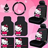 8 piece car seat covers - New Design 8 Pieces Hello Kitty Car Seat Cover with 4 Rubber Mats, Steering Wheel Cover and Air Freshener