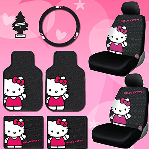 Yupbizauto 8 Pieces Hello Kitty Car Seat Cover with 4 Rubber Mats, Steering Wheel Cover and Air Freshener