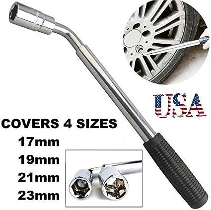 23mm Car Truck Van Tyre Heavy Duty RENNICOCO Professional Fixed 4 Way Cross Wheel Wrench Nut 17//19// 21