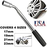 Universal Extendable Wheel Wrench Telescoping Lug Nut Wrench - 17,19, 21, 23mm For Car Van Brace Tire Repair Tool
