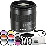 Canon EF-M 18-55mm f/3.5-5.6 IS STM Lens 7PC Accessory Bundle – Includes 3 Piece Filter Kit (UV + CPL + FLD) + 6PC Graduated Filter Set + MORE - International Version (No Warranty)