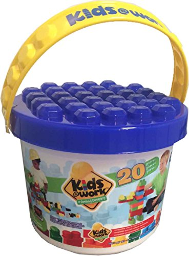 Blocks Bucket (Kids at Work a Bucket of Blocks 6 Color Set By Amloid I 20 Piece Colorful Assortment & Durable Block Set)