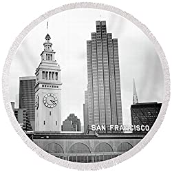 Pixels Round Beach Towel With Tassels featuring Port Of San Francisco Black And White- Art By Linda Woods by Linda Woods