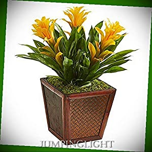 JumpingLight Triple Bromeliad Artificial Plant in Planter, Yellow Artificial Flowers Wedding Party Centerpieces Arrangements Bouquets Supplies 16