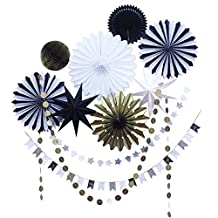 SUNBEAUTY Black White Gold Tissue Paper Fans Paper Garlands Christmas Party Decorations Kit, 10 Pieces (Black White Gold)