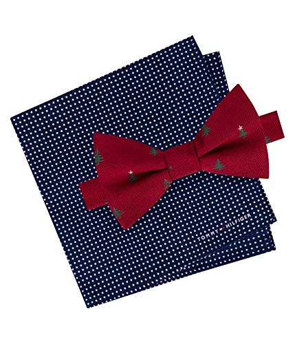 Tommy Hilfiger Mens Tree Silk Pindot Bow Tie Red O/S (Set Hilfiger Tommy Tie)