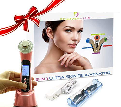 (Rejuven Skin 5-in-1 Anti aging facial toning device combining Galvanic, Light therapy, Wave and Microvibration to reverse aging, tighten skin. reduce fine lines and wrinkles (Rejuven Skin))