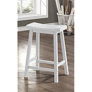 Amazon Com White 24 Quot H Saddle Seat Bar Stools Set Of 2