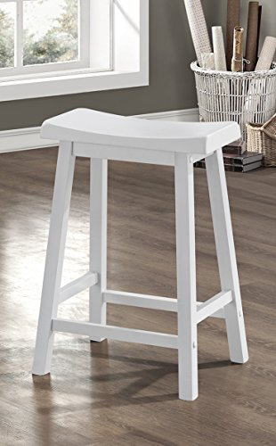White 24 H Saddle Seat Bar Stools Set of 2