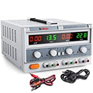 Dr.meter Triple Linear Variable DC Power Supply, Adjustable 30V/5A, Series and Parallel Mode, Input Voltage 104-127V, with Alligator Leads to Banana and AC Power Cable