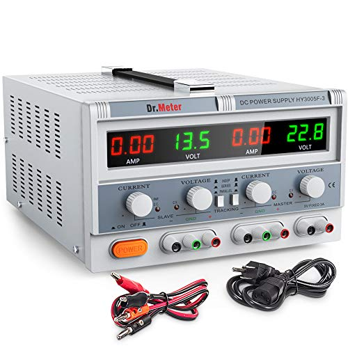 - Dr.meter Triple Linear Variable DC Power Supply, Adjustable 30V/5A, Master and Slave circuits, Series and Parallel Mode, Input voltage 104-127V, with Alligator leads to Banana and AC Power Cable