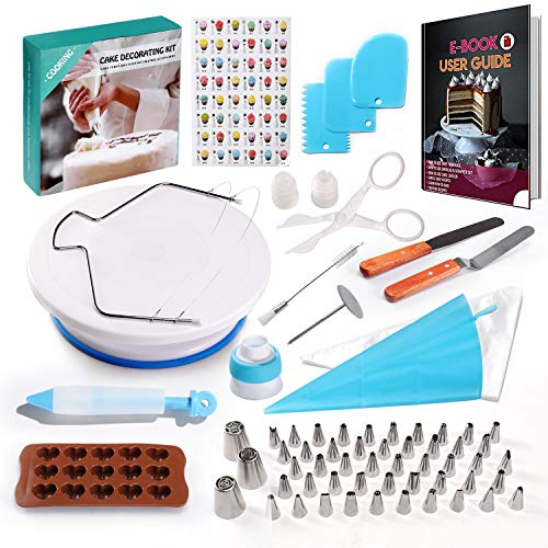 117 Pcs Cake Decorating Kit for Beginners -1 Turntable stand-48 Numbered icing tips with pattern chart -1 Cake Leveler-Straight & Angled Spatula-3 Russian Piping nozzles & E.Book-Baking tools