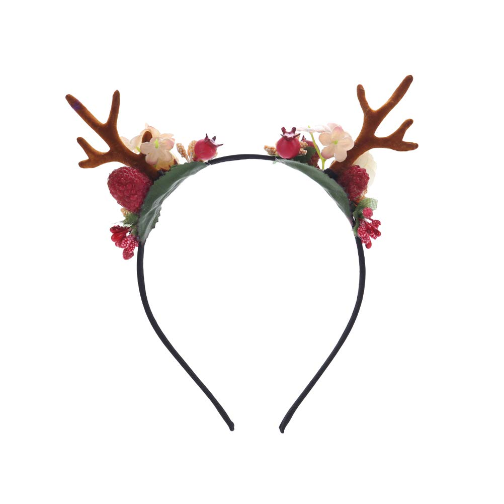 Amazon.com   Frcolor Novelty Christmas Deer Antler Headband with Flowers  Blossom Berry Hair Band for Girl Women   Beauty 6edcfdbcd38
