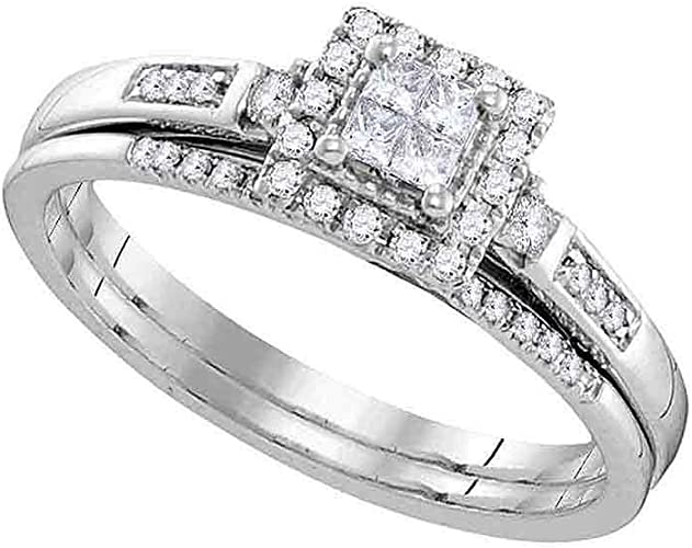 Wedding Band Bridal Set 1//6 ct 10k White Gold Diamond Elevated Engagement Ring