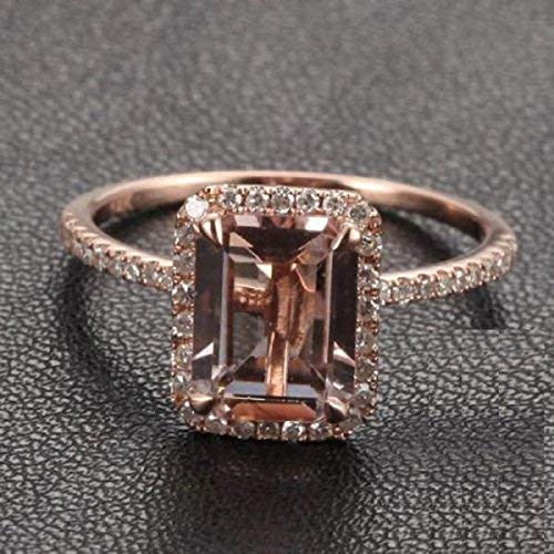 1.50 Carat Antique Design emerald cut Morganite and Diamond Engagement Ring for Women In Rose - Rose Cut Emerald Ring Diamond