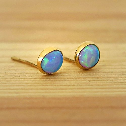 14k Solid Yellow Gold with Blue Opal Gemstone Studs 14k Yellow Gold Opal Gemstone Earrings