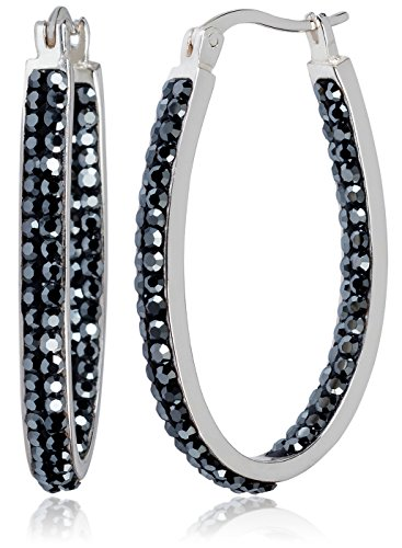 Hematite Plated - Carly Creations Women's Silver Plated Genuine Crystal Hoop Earring - Hematite