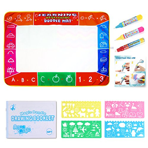 Eligara Water Drawing Mat Pad, 4 Color Large Magic Doddle Mat Pad with 3 Pens & 4 Rulers, Children's Drawing Toys Water Painting Mat Kids Education for Boys Girls Toddlers Kids, Size 39.3×27.5 inch