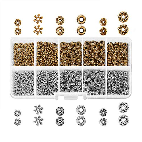 600 pcs Spacer Beads Box Kit Jewelry Findings Beading, Antique Tibetan Silver Bronze Assortment Accessories DIY for Bracelet Necklace Jewelry Making