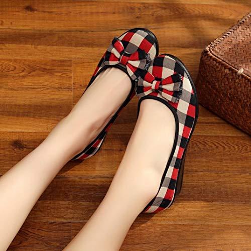 Automne Carreaux Chaussures Pour Pantoufles Merceditas Femmes Confortables Espadrilles Mocassins Casual Qinmm Plats Beiges EXKwqqxvSg