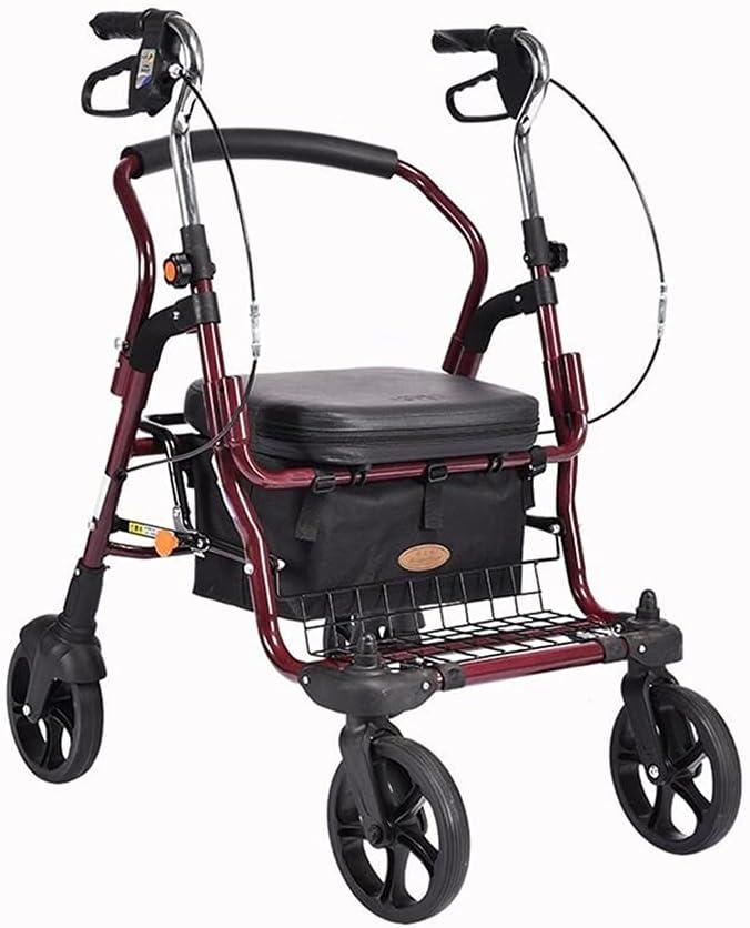 Carro de compras Carrito de la carro de compras plegable con el asiento 4 ruedas escalera escalada caminar scooter para ir de compras, picnic, almacenamiento en el hogar Bolsas y cestas de la compra