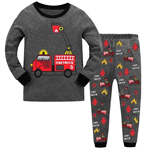 GSVIBK Boys Pajamas Kids Long Sleeve 2 Piece Pajama Sets Cotton Sleepwear for Toddler PJS Clothes 3-4 Years A 021