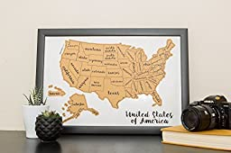 Jetsettermaps Scratch Your Travels United States of America (USA US) Watercolor Art Map 12x18in Frame Poster
