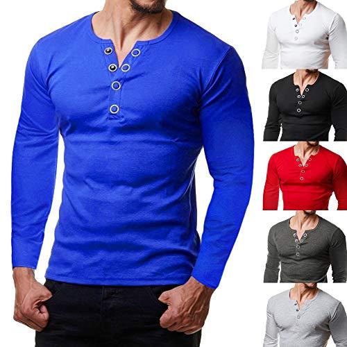 Uomo In Landfox shirt Manica Con T Da Maniche Lunghe Blu Unita Cotone Corta Estate Maglietta Maglia Tinta Top Morbido Casual Fit Slim A Lunga sCtrxQhd
