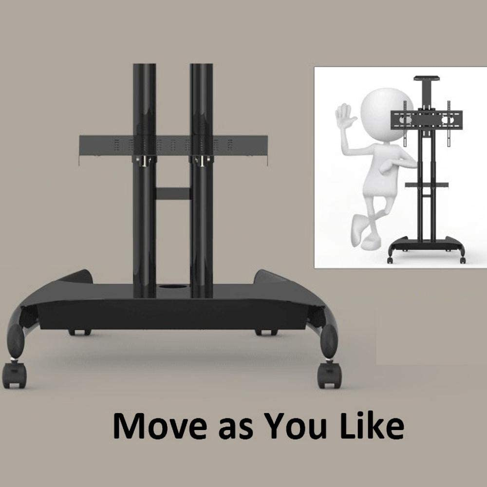 Stainless Steel Monitor Mount for 55-80 Inches Flat Curved TVs,Black Portable TV Floor Stand on Wheels Castors Up to 80KG Tilting Height Adjustable,Max VESA 900x600mm Style #3