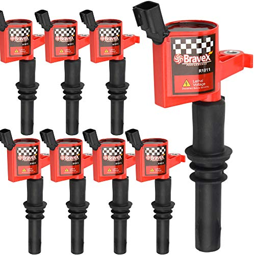Bravex 8 Pack Straight Boot Ignition Coils 15% More Energy F-150 for Ford Lincoln Mercury V8 V10 4.6l 5.4l 6.8l Compatible with DG511 C1541 FD508-Upgrade (Red)