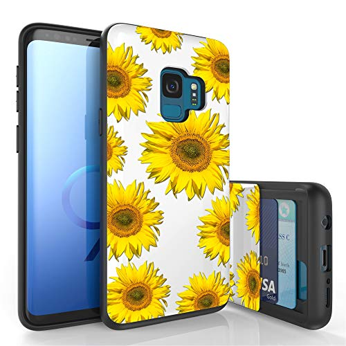 (PimpCase Slim Wallet Case + Dual Layer Hidden Card Holder Phone Cover Designed for Samsung Galaxy S9 (2018) Case, Sunflowers)