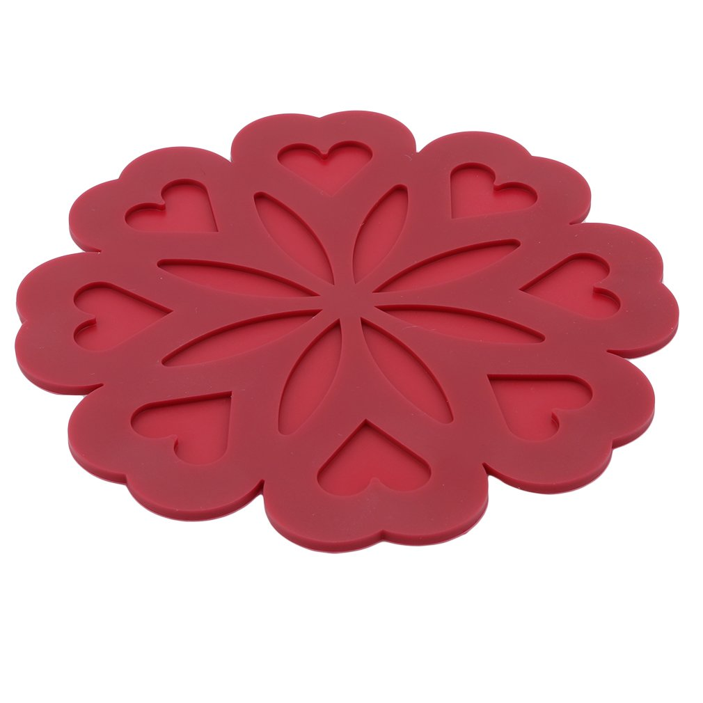 GloryMM Creative Silicone Peach Flower Insulation Pad Heart-Shaped Insulation Placemats Dishes Coasters Western Table Padded Models,Red Wine