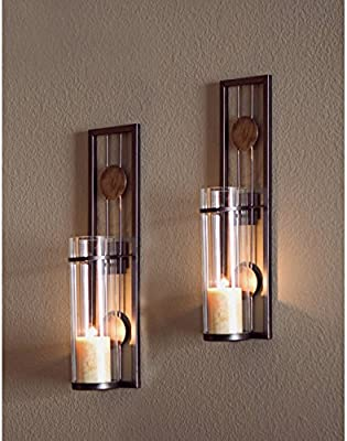 Amazon Com Candle Wall Sconce Set Of 2 And Classic Pillar Real Flame Effect Flameless Led Candles Set 6 X 2 15 With Remote And Timer Feature White Color With Set Of 2 Metal
