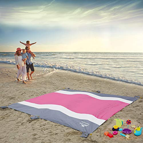 Gamegie Sand Proof Beach Blanket, Large Sand Free Beach Mat Oversized Waterproof Sandless Mat for Travel,Camping,Hiking and Music Festivals,Compact Sand Blanket with 6 Pocket (Hot Pink)