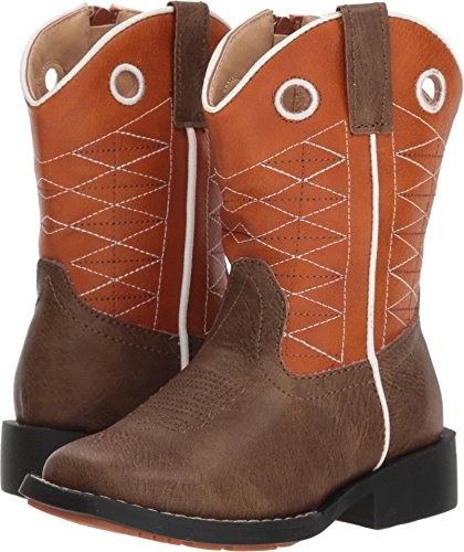 Roper Childrens Boone Round Toe Orange Boots 8 Childrens Round Toe Boot
