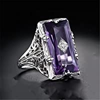 SujareeShop Huge Princess 5.2CT Amethyst Women 925 Silver Jewelry Engagement Ring Gift 6-10 (8)