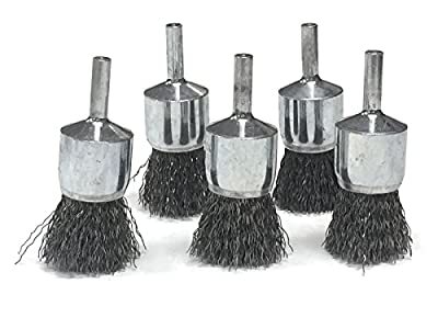"""1"""" Crimped Wire End Brush - Carbon Steel Wire - 5 Pack"""